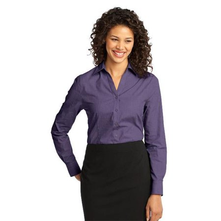 Port Authority L640 Ladies Crosshatch Easy Care Shirt, Grape Harvest - 2XL - image 1 de 1