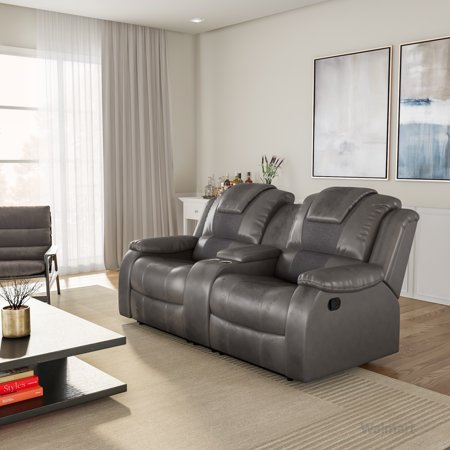 Furniture of America Tompson Traditional Reclining Loveseat, Gray ()