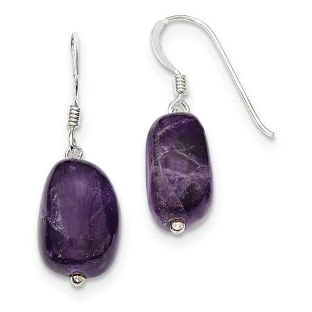 925 Sterling Silver Amethyst Dangle Earrings