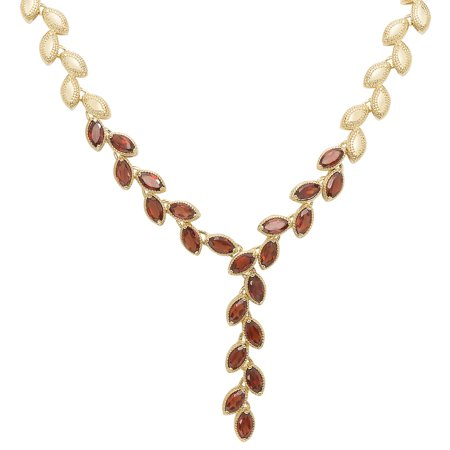 Gemstone Leaf Design (Gold Overlay Gemstone Leaf Design Necklace)