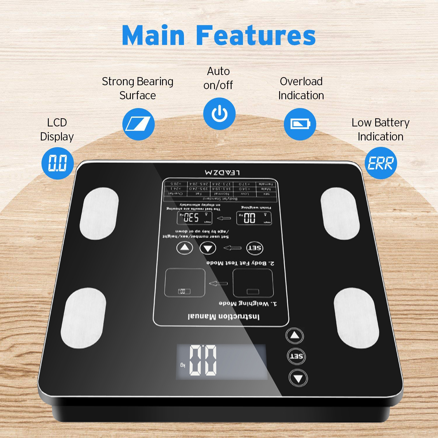 UBesGoo 396lb Balance Scale Fat Analyser Calorie High Precision LCD Display Measurements
