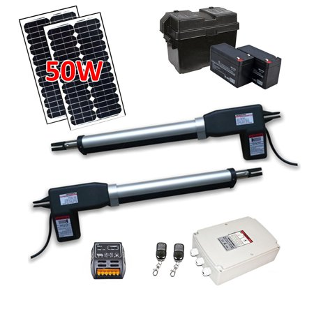 ALEKO Dual Swing Gate Operator - AS1200 AC/DC - Solar Kit 50W (Swing Door Opener)