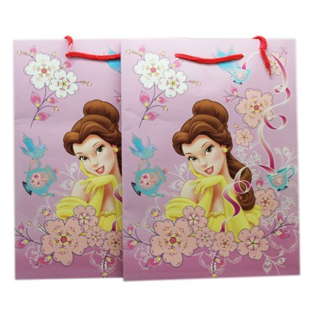 Disney Princess Belle Pink Colored Floral Ribbon Medium Size Gift Bags - Disney Ribbon