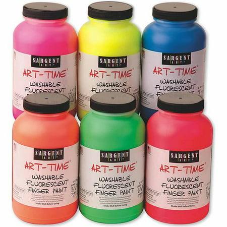 sargent art 16 oz washable fluorescent finger paint pack of 6
