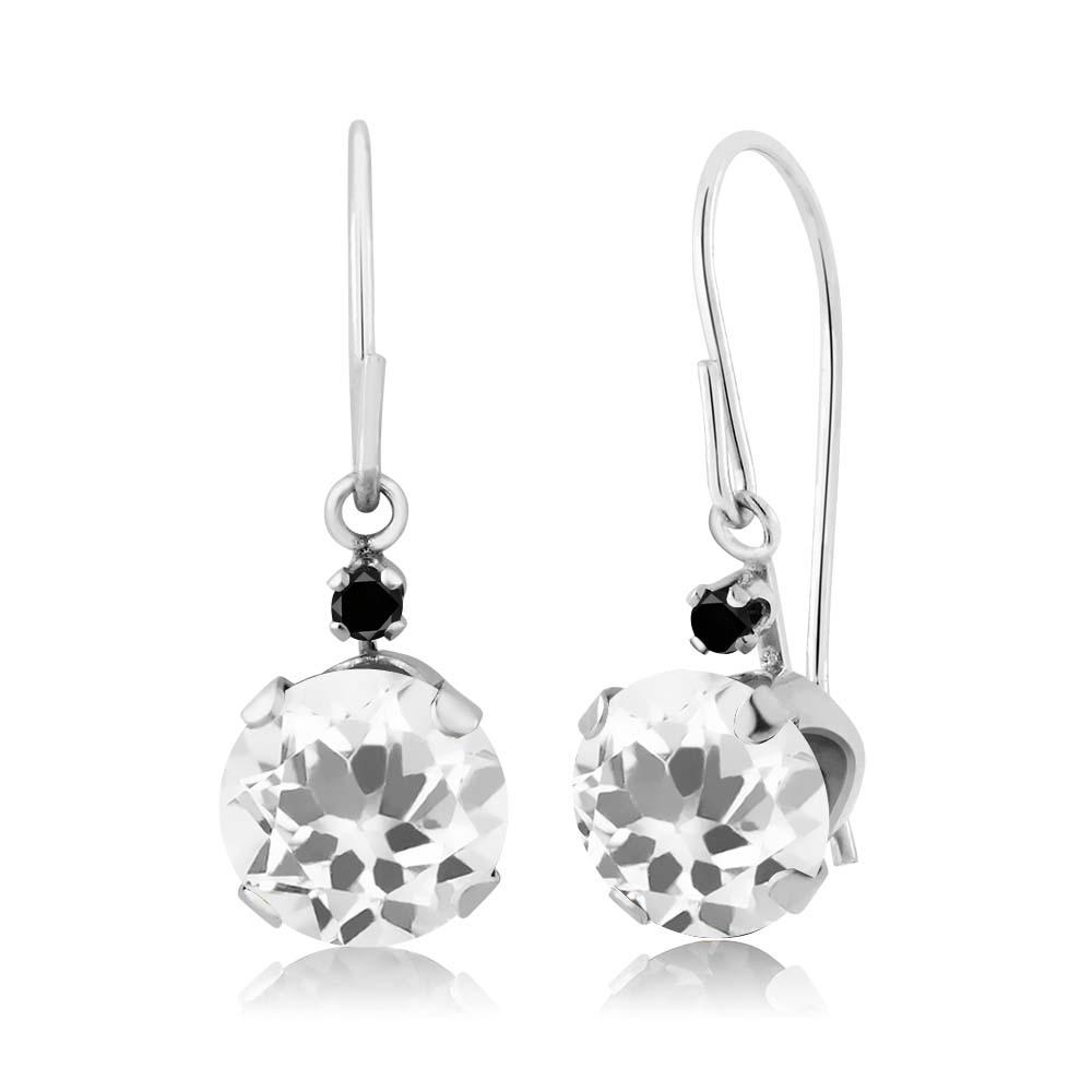 1.43 Ct Round White Quartz Black Diamond 14K White Gold Earrings