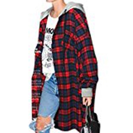 YesFashion Women's Mid-long Large Size Hooded Drop Shoulder Sleeve Contrast Color Loose Plaid Coat