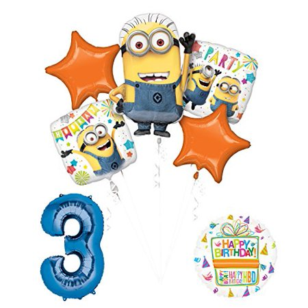 Despicable Me 3 Minions 3rd Birthday Party Supplies and balloon Decorations - Minion Ballons