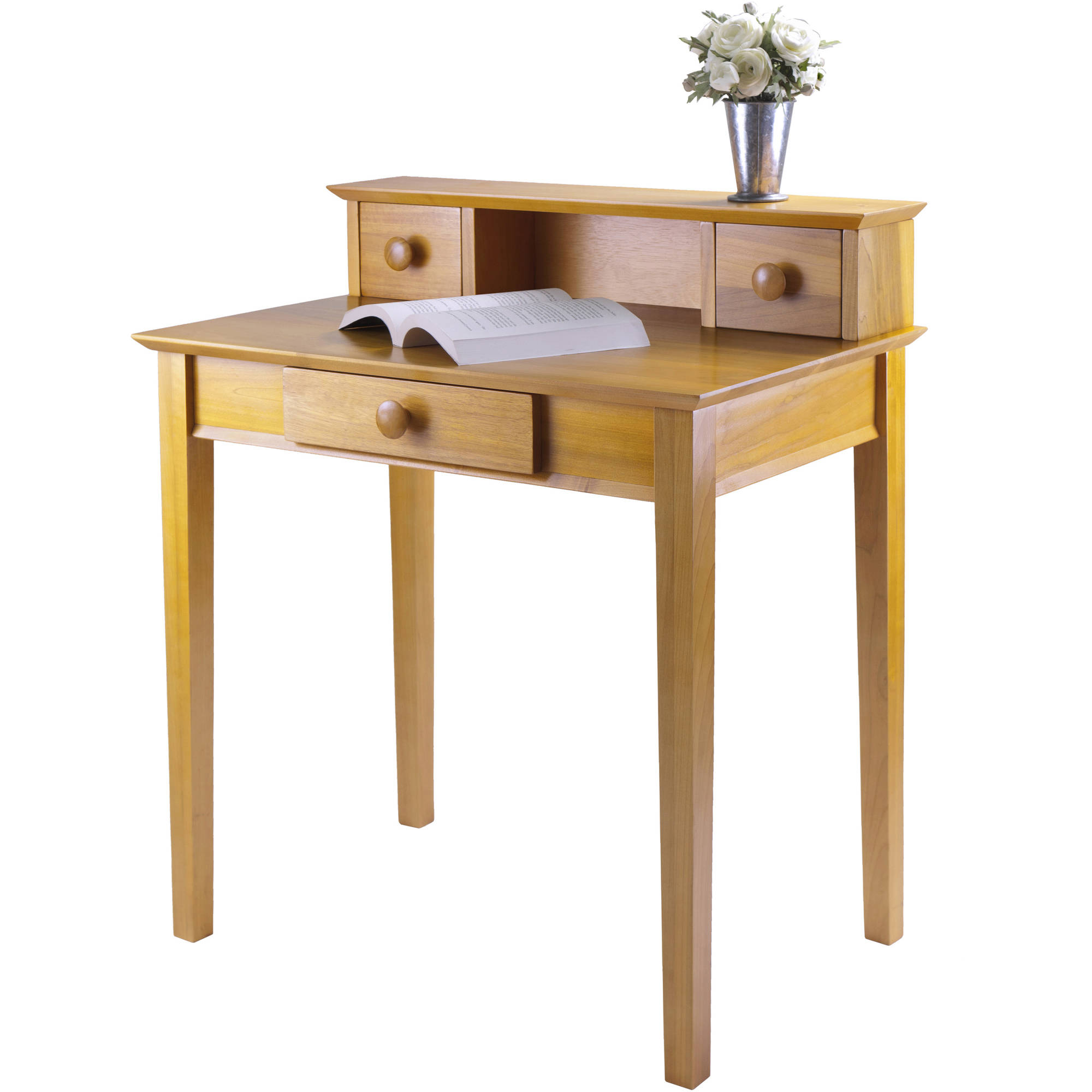 Winsome Wood Studio Home Office Desk W Hutch Honey Pine Finish
