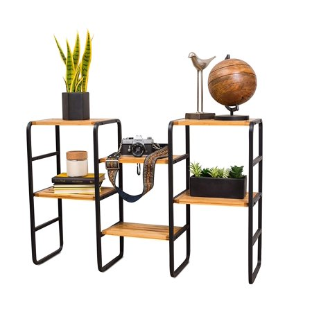Internet's Best Multipurpose Free Standing Plant Stand Storage Shelf Tower | Shoe Rack | Bamboo and Metal | 6 Tier | Narrow | Adjustable |