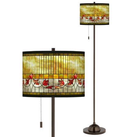 Tiffany-Style Lily Giclee Glow Bronze Club Floor Lamp