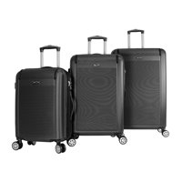 World Traveler Malibu 3 Piece Hardside Lightweight Spinner Rolling Luggage Set with TSA Lock(Black)