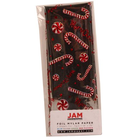 JAM Paper Holiday Tissue Paper, Merry Christmas Holiday Silver Foil with Candy Cane and Peppermint Design, 3 Sheets/pack
