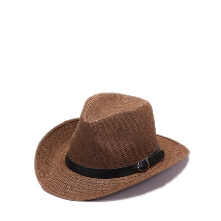 UKAP Men's Classic Panama Hat Beach Hat Packable Foldable Wide Brim Fedora Straw Hat Cowboy Hat Summer Sun Jazz Cap](White Fedora Black Band)