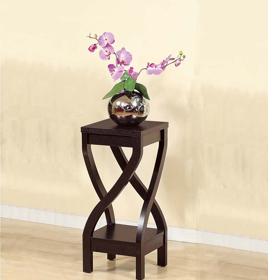 Elegant Design Small Size Plant Stand, Dark Brown by Benzara