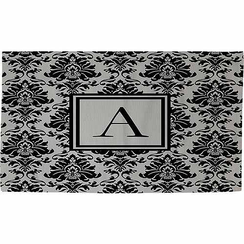 Thumbprintz Damask Monogram Rug, Black and Grey