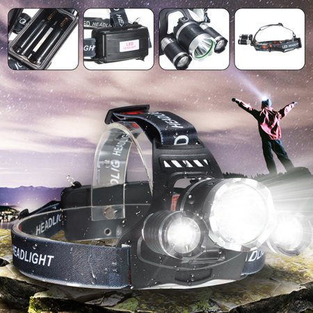 3 Led Flashlight Torch - Elfeland 5000 Lm 3 x T6 LED Rechargeable Headlamp Headlight Flashlight Torch Waterproof + AC Charger For Hiking Camping Riding Fishing