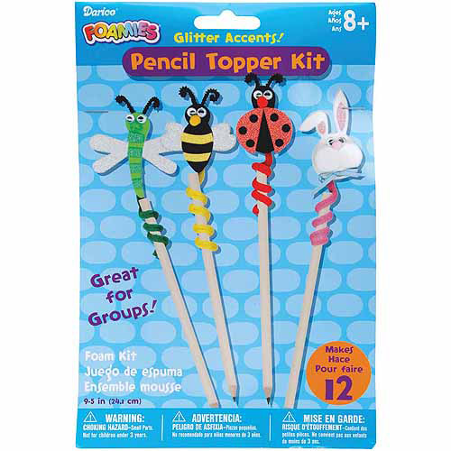 "Darice Pencil Topper Critters 9.5"" Foam Group KitMakes 12 104539"