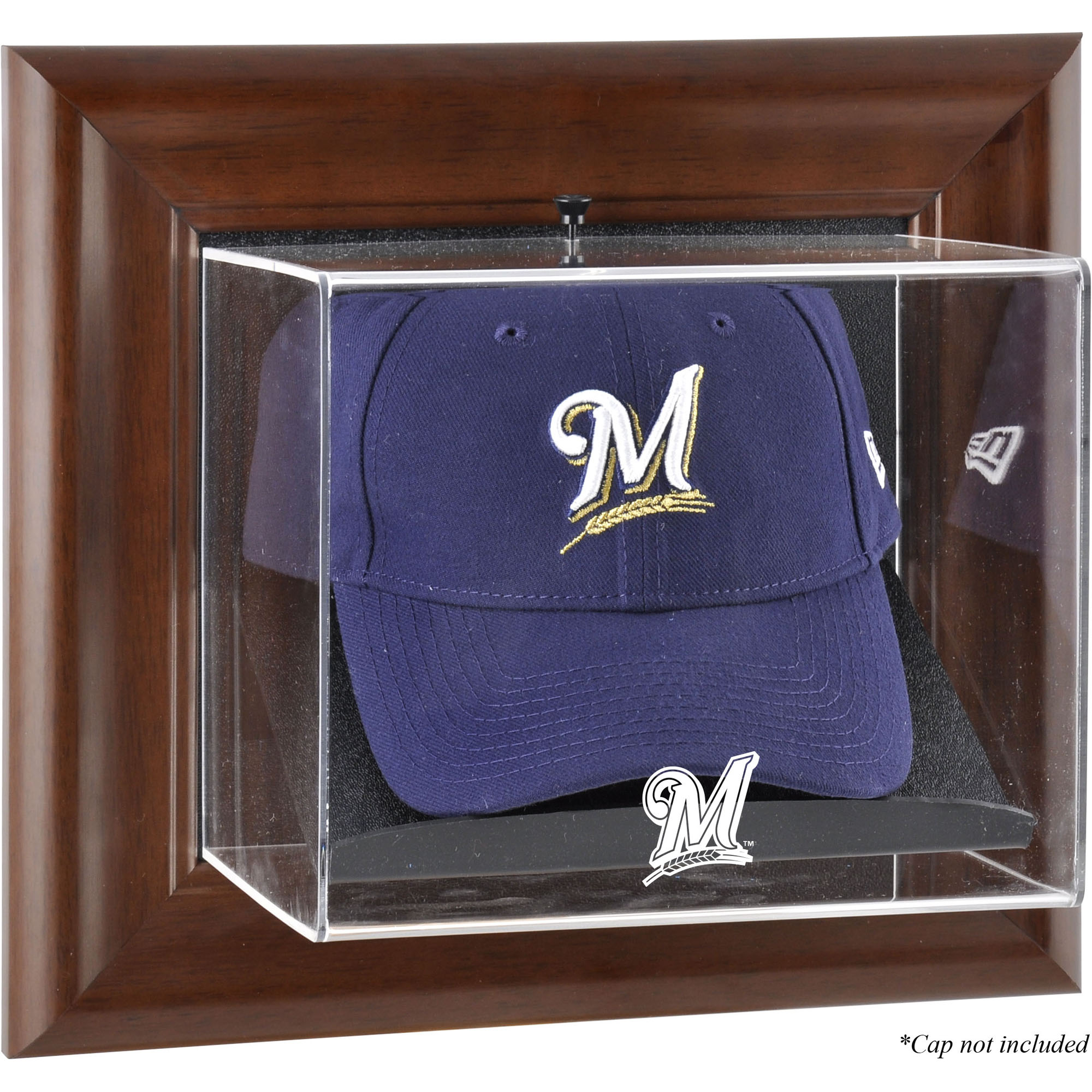 Milwaukee Brewers Fanatics Authentic Brown Framed Wall-Mounted Logo Cap Case - No Size