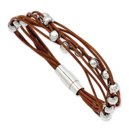 Brown Leather Cord Bracelet - ICE CARATS Stainless Steel Beads Brown Leather 7.5 Inch Bracelet Cord Leatrubber Fashion Jewelry Ideal Gifts For Women Gift Set From Heart