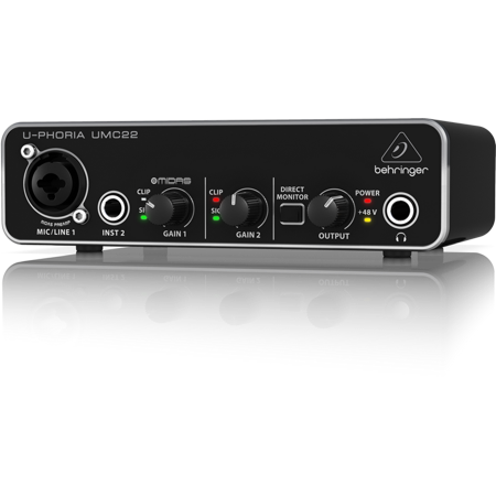 Behringer U-Phoria UMC22 Audiophile 2x2 USB Audio Interface w/ MIDAS Mic (Behringer U Phoria Umc1820 Usb Audio Interface)
