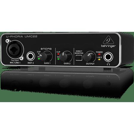 behringer u phoria umc22 audiophile 2x2 usb audio interface w midas mic preamps. Black Bedroom Furniture Sets. Home Design Ideas