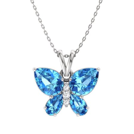Certified Natural 1.38 Carat Pear Cut Blue Topaz and Diamond Butterfly Petite Pendant Necklace in 10k White Gold with Silver Chain 10k White Gold Crown