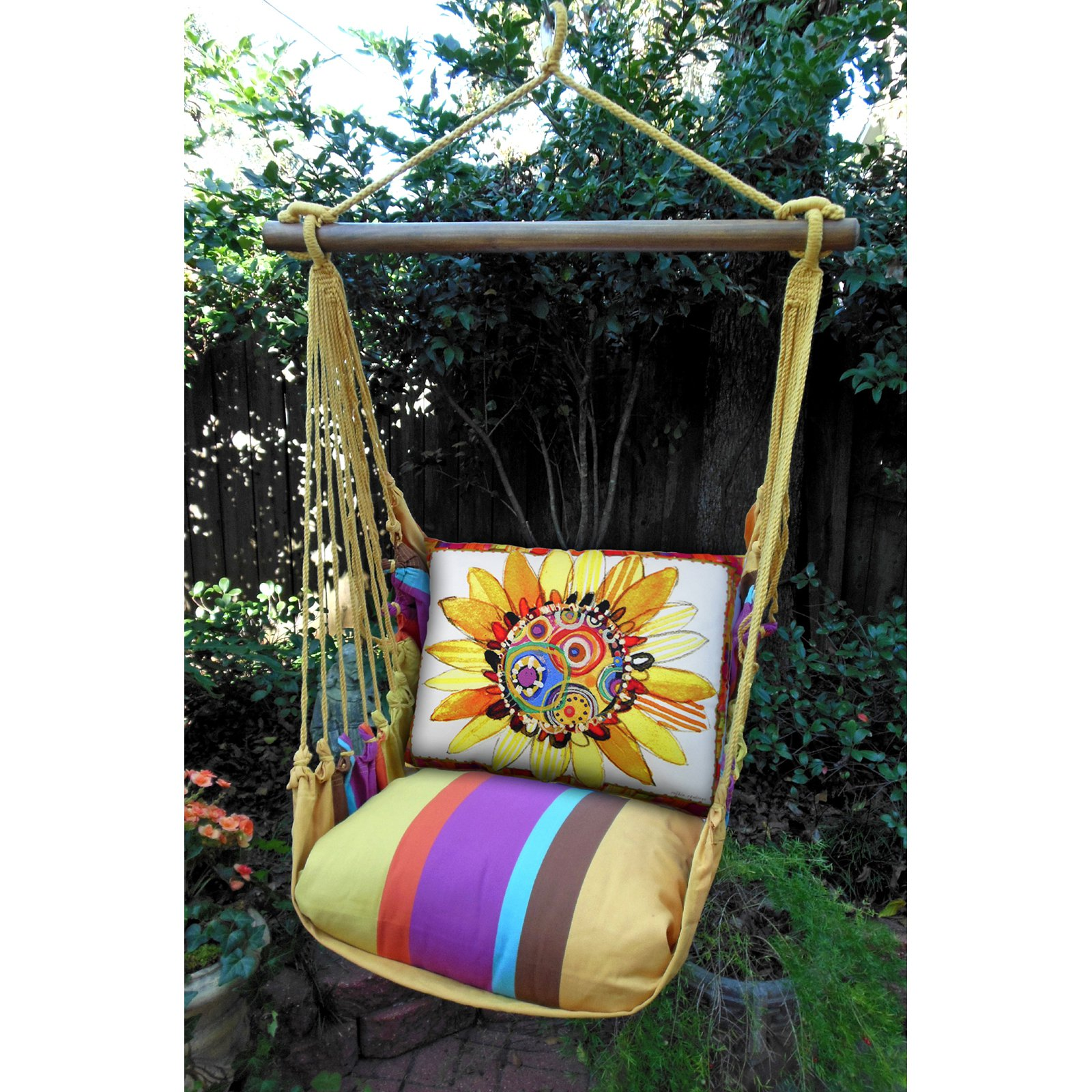 Magnolia Casual Funky Sunflower Hammock Chair & Pillow Set