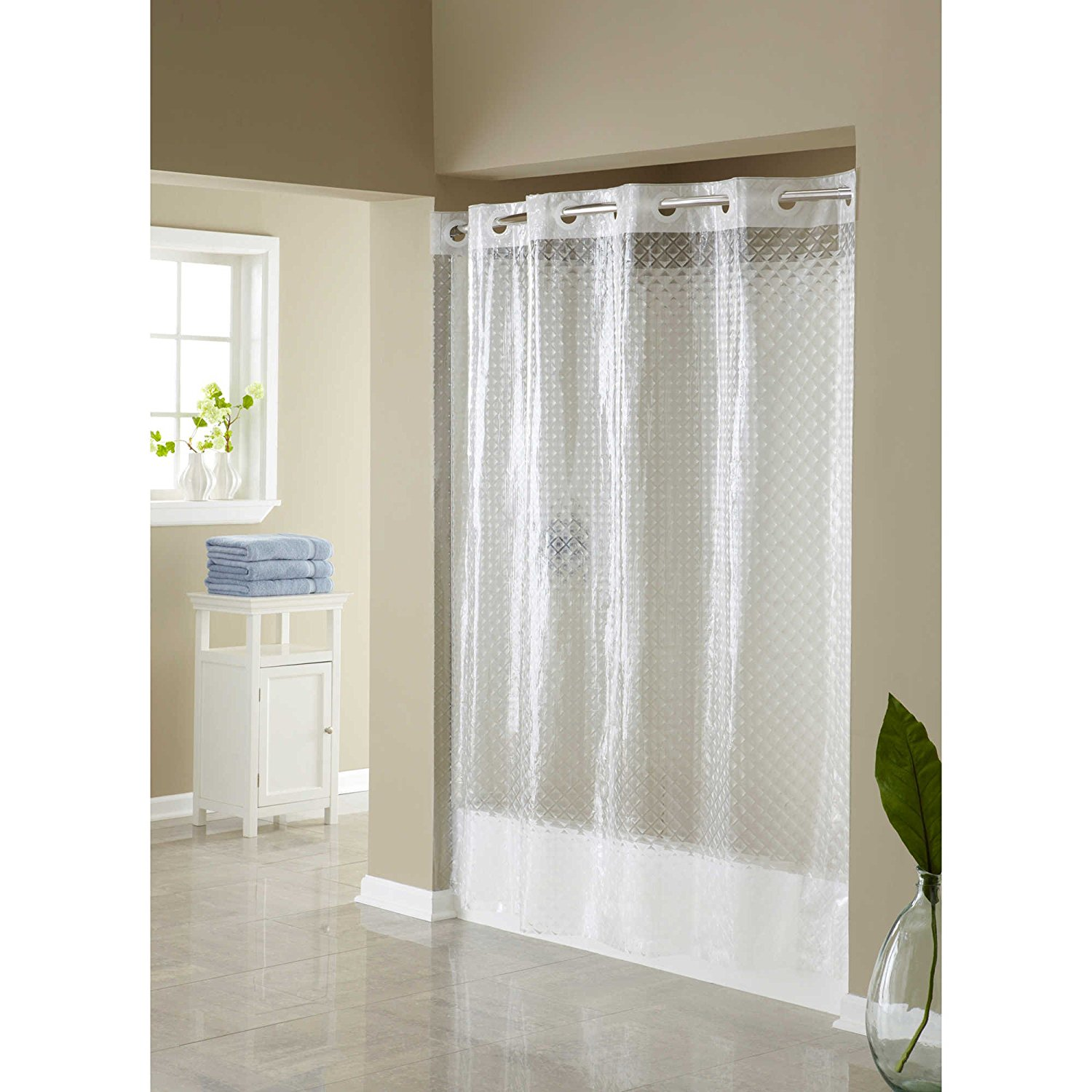Hangs in Seconds EVA Shower Curtain (Clear Diamond), It allows you to hang the curtain in less than 10 seconds By Hookless