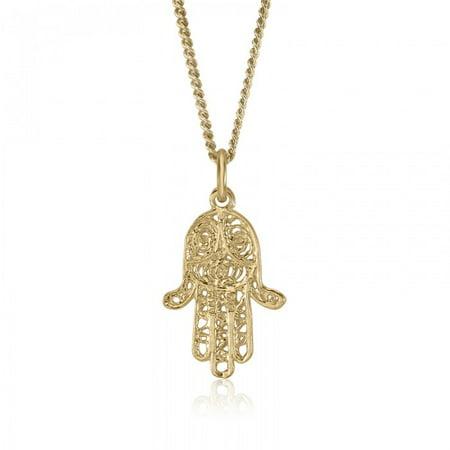 10K Yellow Gold Jewish Hamsa Hand of God Pendant Charm Religious Judaica Fine Authentic Jewelry