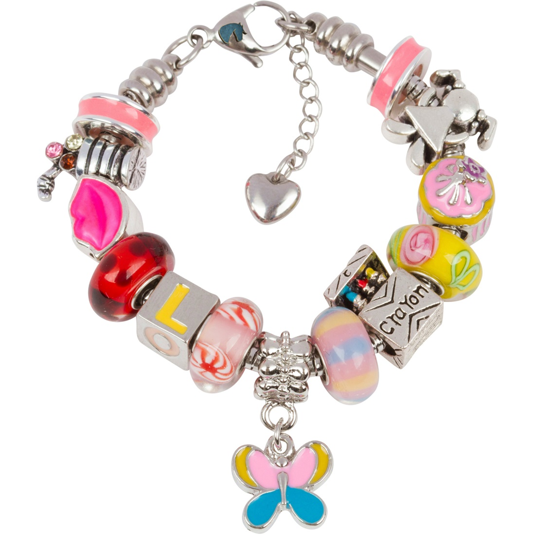 Girls Charm Bracelet With Charms, Fits Pandora Jewelry, First Day Of School, Pink 6.5 Inch (16.5 cm)