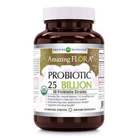 Amazing Flora - USDA Certified Organic Probiotic 25 Billion - 10 Probiotic Strains - 60 Organic Tablets - Restores The Natural Balance of Good Bacteria - Helps to Relieve Digestive