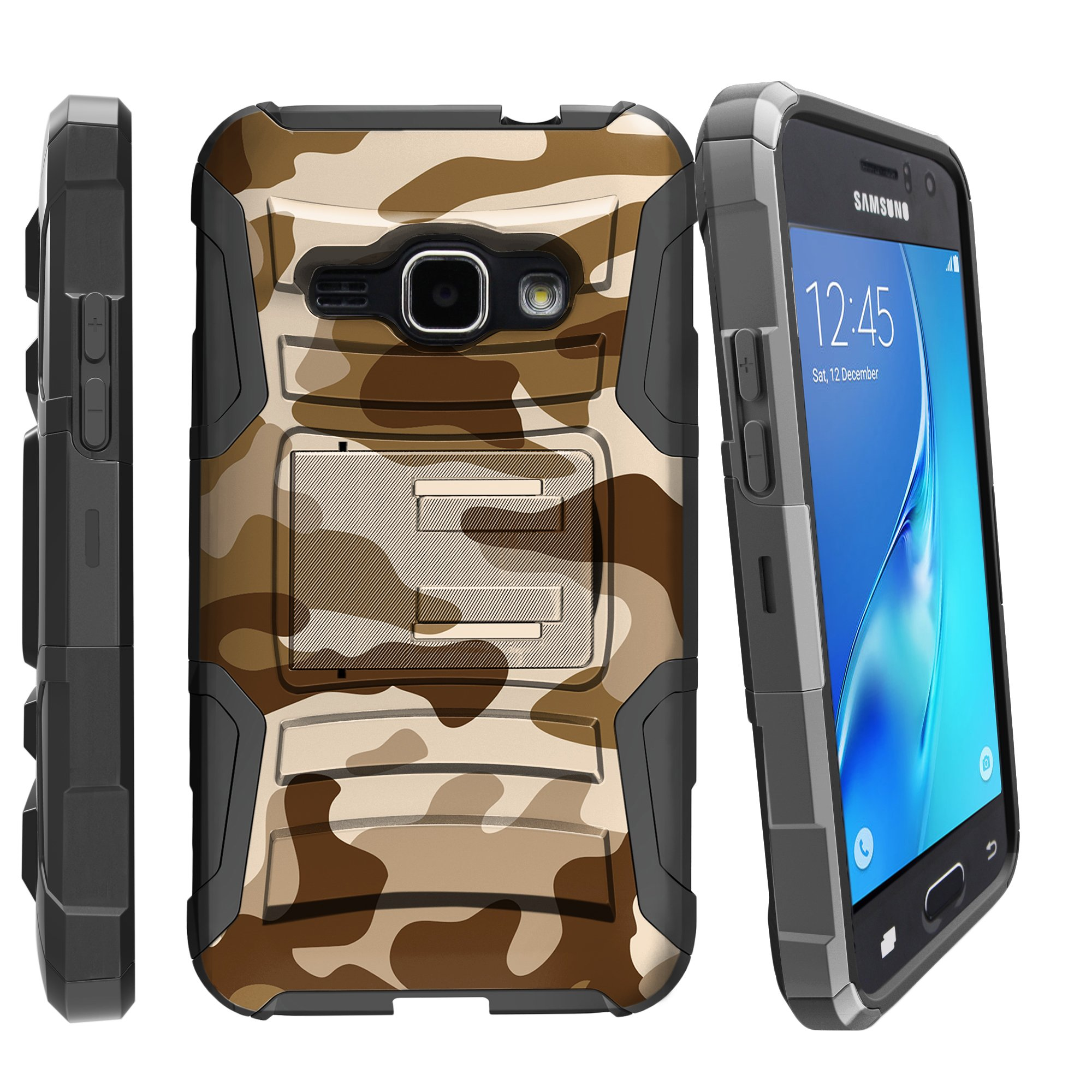 Case for Samsung Galaxy J3 | Case for Express Prime | Case for Amp Prime  [ Clip Armor ] Heavy Duty Case with Belt Clip & Kickstand Camo Collection