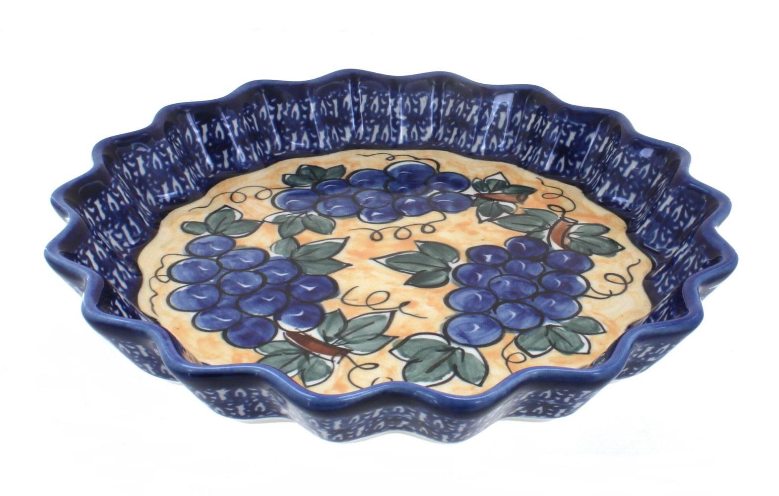 Polish Pottery Grapes Scallop Quiche Dish by