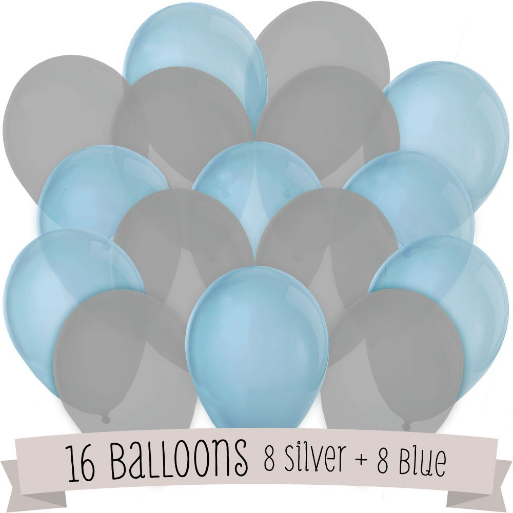 16 Pack of Latex Balloons (8 Baby Blue & 8 Gray)