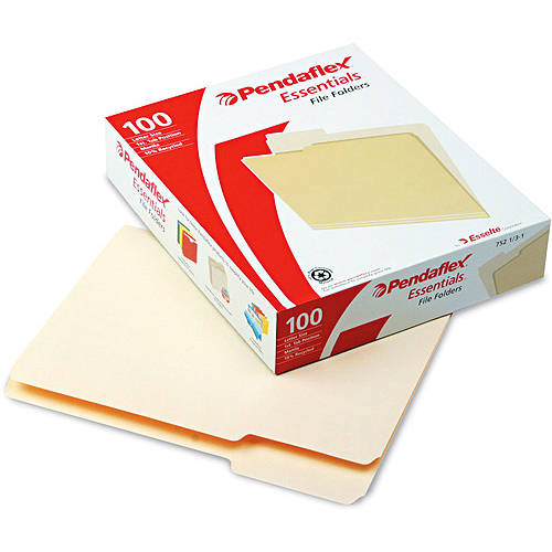 Pendaflex Essentials File Folders, 1/3 Cut, First Position, Top Tab, Letter, Manila, 100 Per Box