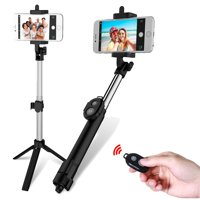 "Extendable Selfie Stick + Bluetooth Remote Control Shutter + Handheld Tripod Monopod 7.5""-30.3"" for iPhone & Android Universal Smartphone"