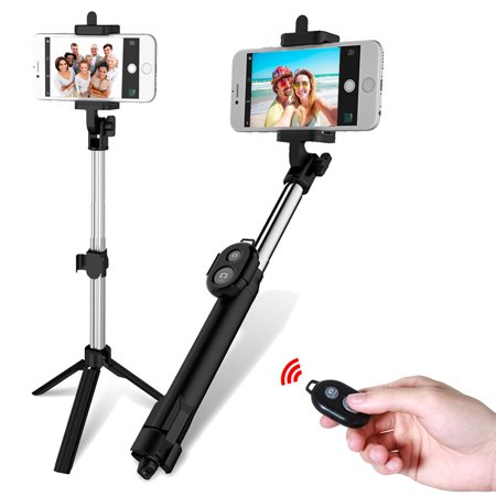 Extendable Selfie Stick + bluetooth Remote Control Shutter + Handheld Tripod Monopod for iPhone & Android Universal