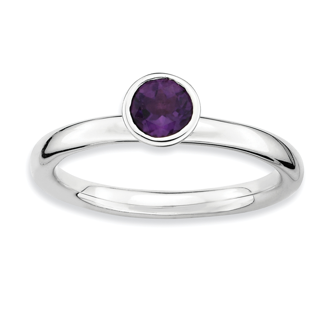 925 Sterling Silver High 5mm Round Purple Amethyst Band Ring Size 6.00 Stone Stackable Gemstone Birthstone February Fine Jewelry Gifts For Women For Her - image 4 of 4