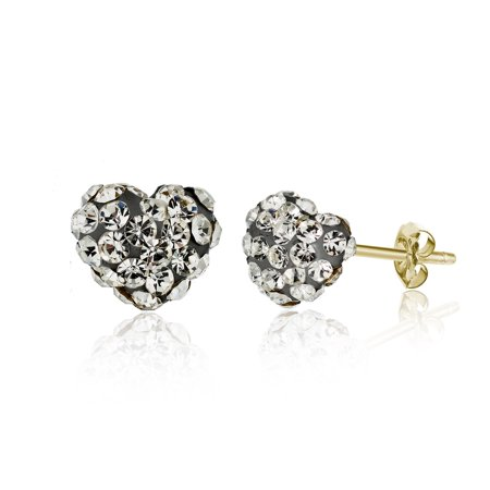Jewelers 14K Solid Gold Pave Black Diamond Crystal Puff Heart Earrings made wSwarovski Elements