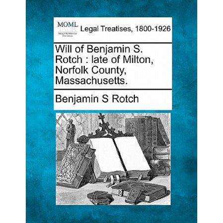 County Massachusetts Map - Will of Benjamin S. Rotch : Late of Milton, Norfolk County, Massachusetts.
