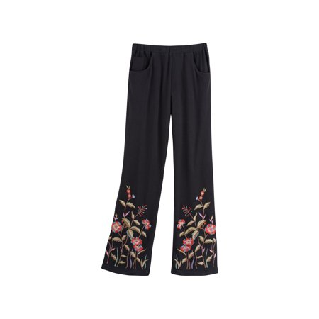 April Cornell Women's Floral Embroidered Black Knit Pants -Pockets Elastic Waist