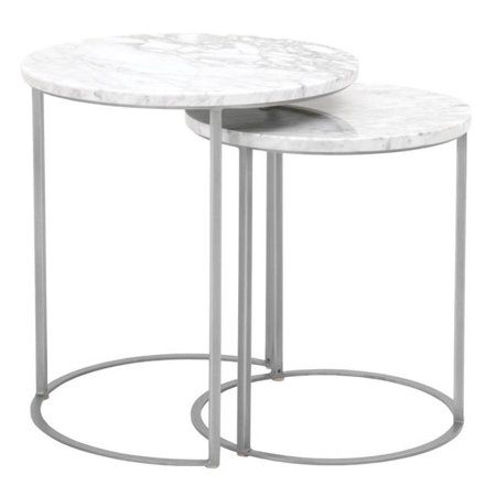Benzara BM185162 Marble Top Round Nesting Table with Brushed Steel Gray Base, White - 22.5 x 21 x 21 in. - Set of 2 - image 1 of 1