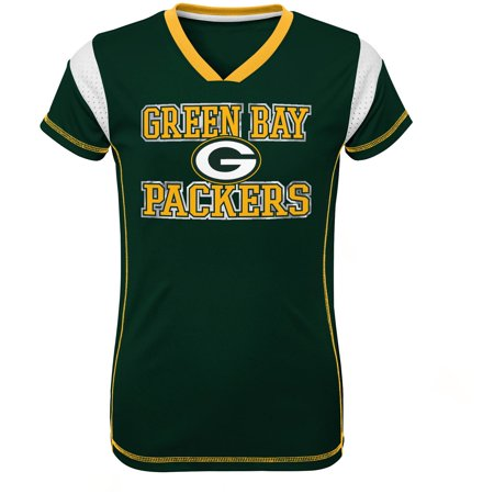 Girls Youth Green Green Bay Packers Team V-Neck Jersey