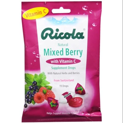 Ricola Supplement Drops With Vitamin C Mixed Berry 19 Each (Pack of 3)