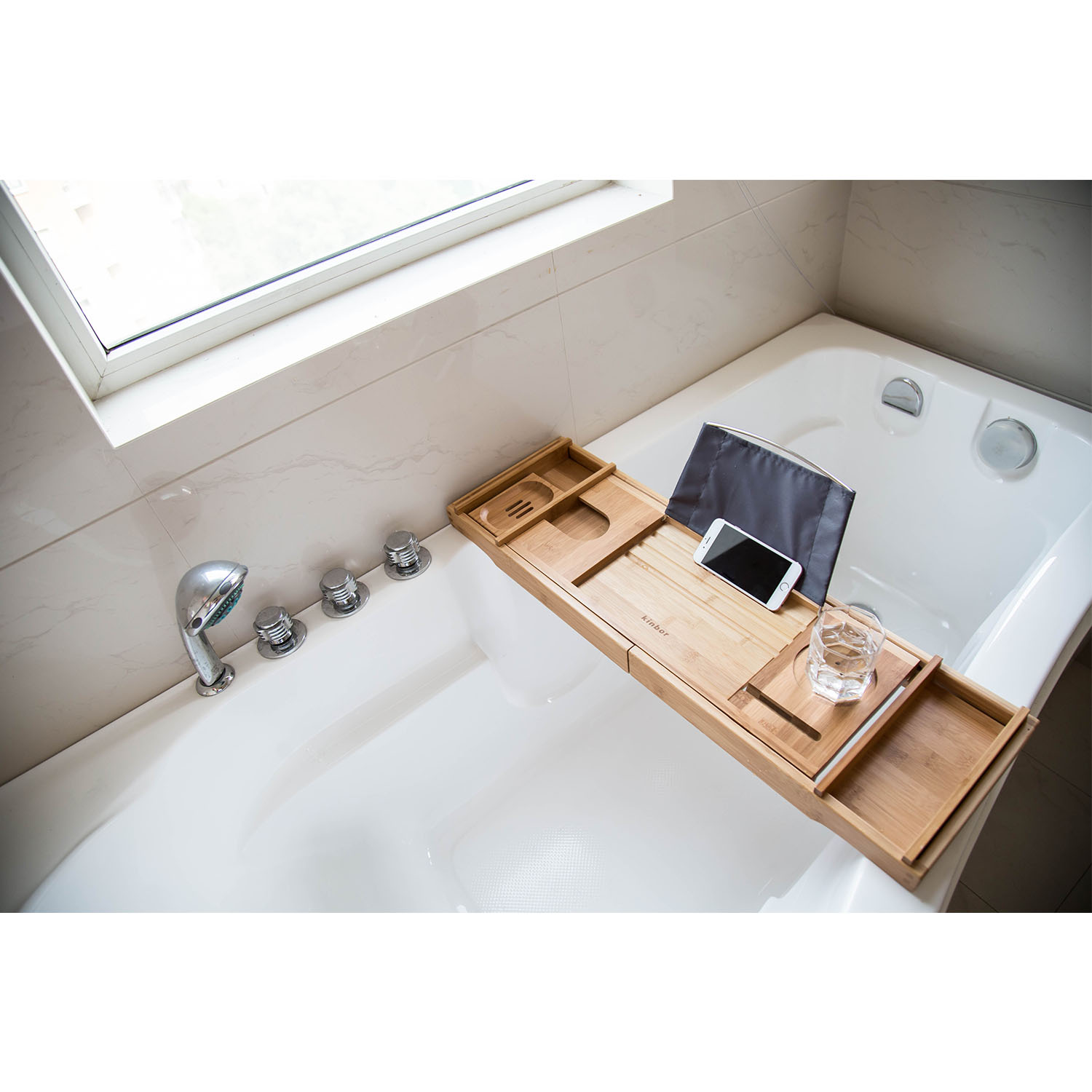 Kinbor Bamboo Bathtub Rack Bathroom Shower Tray Holder Extending Sliding  Sides