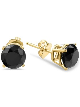 c861bdc23 Product Image 3 TCW 14k Yellow Gold Round Black Diamond Stud Earrings  Treated
