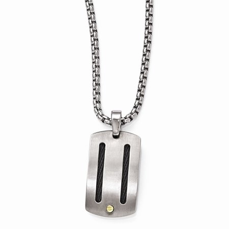Edward Mirell Jewelry Collection Titanium Cable 18K Gold Rivets with Sterling Silver Bezel Pendant by Roy Rose Jewelry ~ Length 20'' inches 18k Titanium Necklace