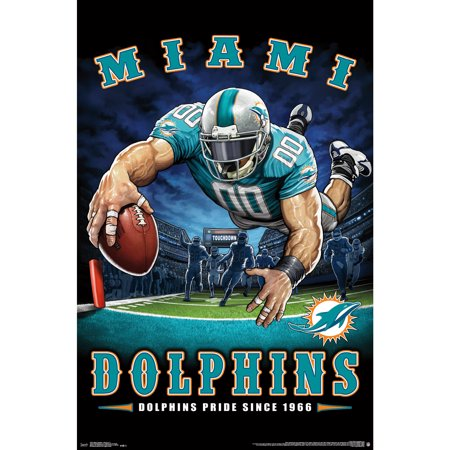 Miami Dolphins Framed Wall - Miami Dolphins Liquid Blue Designs 22'' x 34'' End Zone Poster - No Size