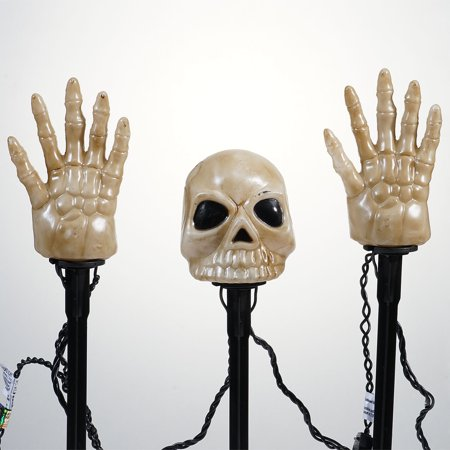 Way To Celebrate Halloween 12 Piece Skull with Hands Lawn Stake