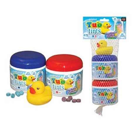 Bathtub Color Tablets - 2-pack Includes Red And Blue And A Rubber Duck For Fun A Bath Time Ducky Bath Time Gift